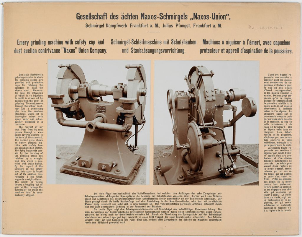 Industrial Problems, Prevention Of Accidents: Germany. Safety Devices In Various Manufacturing Plants: Gesellschaft Des Ächten Naxos-Schmirgels Naxos-Union. Schmirgel-Dampfwerk Frankfurt A. M., Julius Pfungst, Frankfurt A. M.: Energy Grinding Machine With Safety Cap And Dust Suction Contrivance