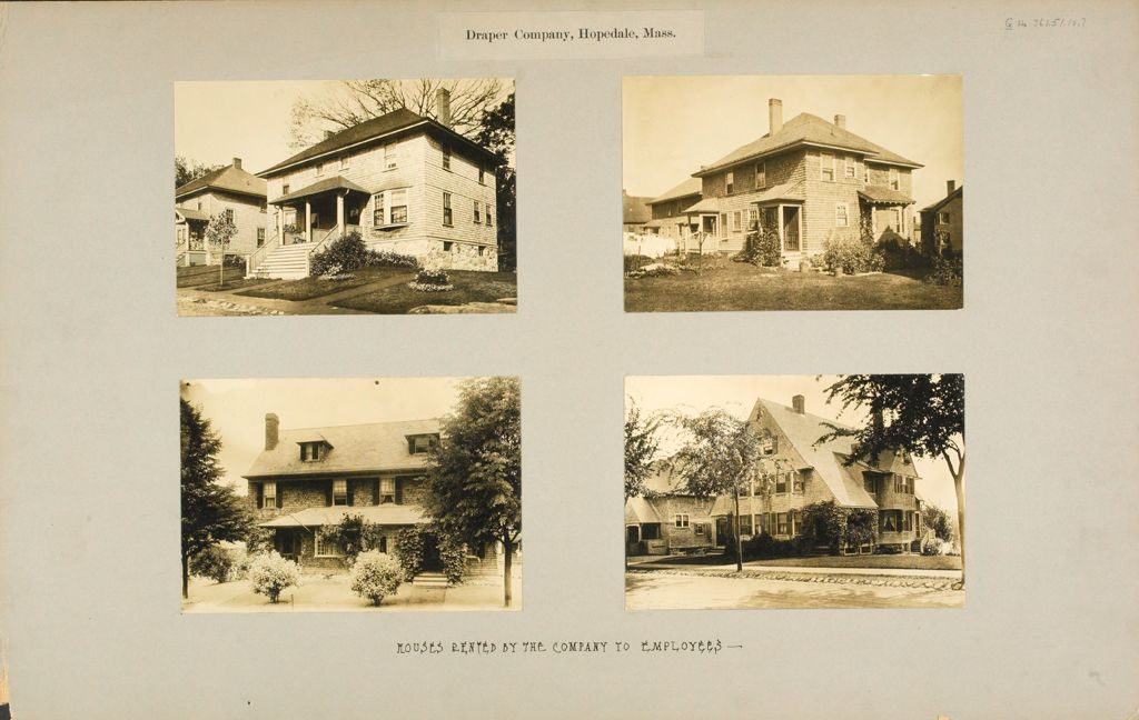 Industrial Problems, Welfare Work: United States. Massachusetts. Hopedale. The Draper Company: Draper Company, Hopedale, Mass: Houses Rented By The Company To Employees