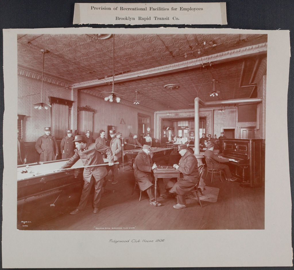 Industrial Problems, Welfare Work: United States. New York. Brooklyn. Rapid Transit Company: Provision Of Recreational Facilities For Employees. Brooklyn Rapid Transit Co.: Ridgewood Club House 1906