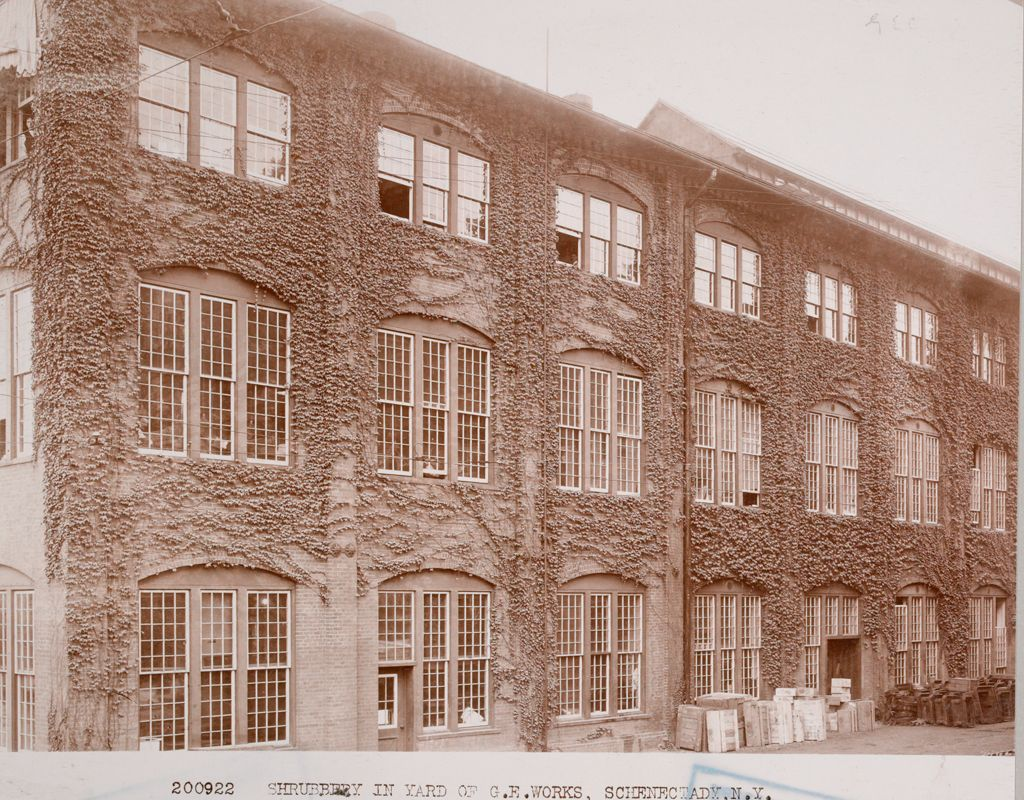 Industrial Problems, Welfare Work: United States. New York. Schenectady. General Electric Company: Welfare Institutions. General Electric Co., Schenectady, N. Y.: Factory Grounds Beautified.: 200922 Shrubbery In Yard Of G.e. Works, Schenectady, N.y.
