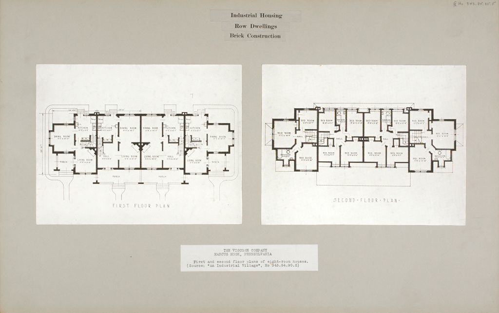 Industrial Problems, Welfare Work: United States. Pennsylvania. Marcus Hook. The Viscose Company: Industrial Housing. Row Dwellings. Brick Construction: The Viscose Company. Marcus Hook, Pennsylvania: First And Second Floor Plans Of Eight-Room Houses. (Source: