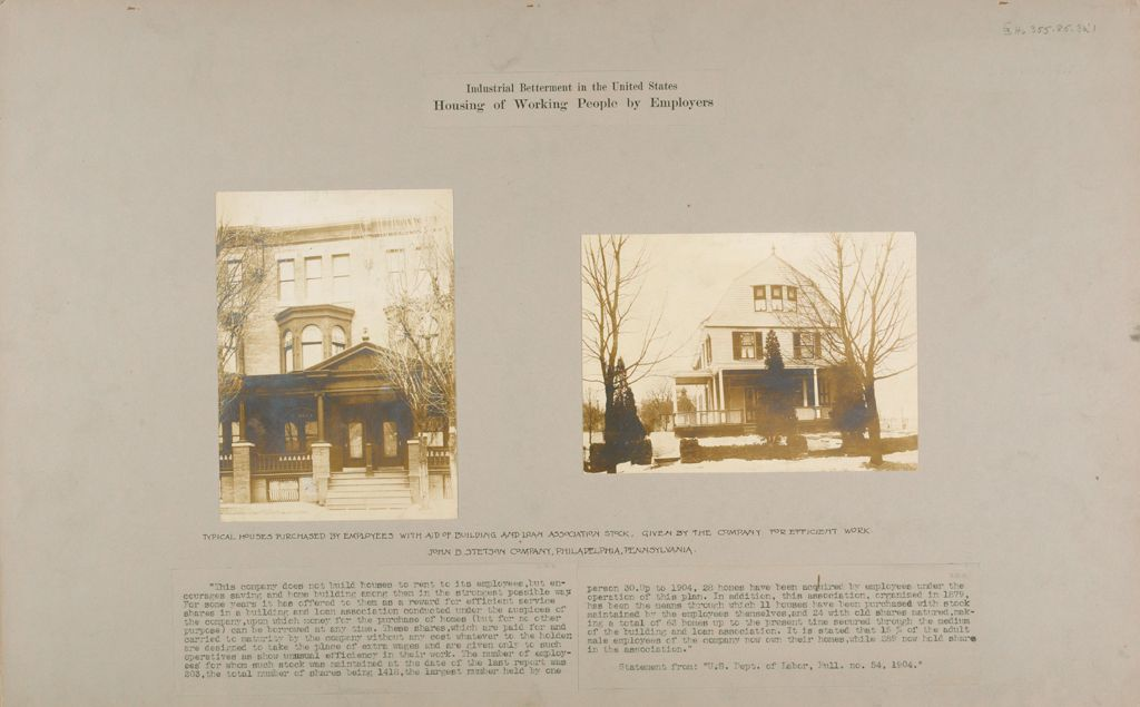 Industrial Problems, Welfare Work: United States. Pennsylvania. Philadelphia. John B. Stetson Company: Industrial Betterment In The United States. Housing Of Working People By Employers: Typical Houses Purchased By Employees With Aid Of Building And Loan Association Stock, Given By The Company For Efficient Work. John B. Stetson Company, Philadelphia, Pennsylvania.