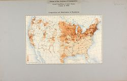 Races, Immigration: United States. Immigration to the United States: Extent of the Problem of Immigration, Social Conditions, United States, Census of 1900. Composition and Disribution of Population: Density of the Foreign Born Population of the United States at the Twelfth Census 1900..   Social Museum Collection