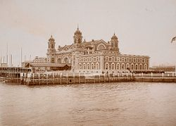 Races, Immigration: United States. New York. New York City. Immigrant Station: Regulation of Immigration at the Port of Entry. United States Immigrant Station, New York City: Main building at Ellis Island..   Social Museum Collection
