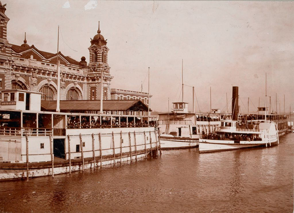 Races, Immigration: United States. New York. New York City. Immigrant Station: Regulation Of Immigration At The Port Of Entry. United States Immigrant Station, New York City: Aliens Landing From Barges At Ellis Island Station.