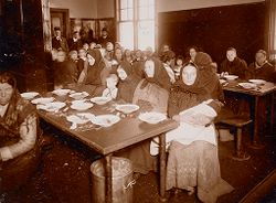 Races, Immigration: United States. New York. New York City. Immigrant Station: Regulation of Immigration at the Port of Entry. United States Immigrant Station, New York City: A dining room for detained and excluded women..   Social Museum Collection