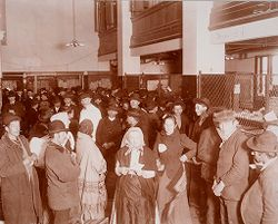 Races, Immigration: United States. New York. New York City. Immigrant Station: Regulation of Immigration at the Port of Entry. United States Immigrant Station, New York City: Ellis Island Station..   Social Museum Collection
