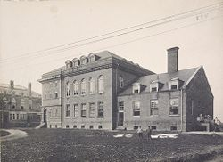 Races, Indians: United States. New York. Iroquois. Thomas Asylum for Orphan and Destitute Indian Children: State Thomas Asylum for Orphan and Destitute Indian Children, Iroquois, N.Y.: Administration Building, Stewart Hall, Work and Service Building.   Social Museum Collection