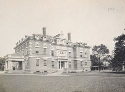 Races, Indians: United States. New York. Iroquois. Thomas Asylum for Orphan and Destitute Indian Children: State Thomas Asylum for Orphan and Destitute Indian Children, Iroquois, N.Y.: Side view of Administration Building.   Social Museum Collection