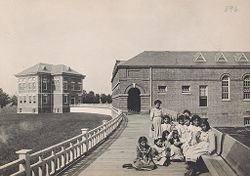 Races, Indians: United States. New York. Iroquois. Thomas Asylum for Orphan and Destitute Indian Children: State Thomas Asylum for Orphan and Destitute Indian Children, Iroquois, N.Y.: Some of the Girls.   Social Museum Collection