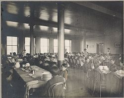 Races, Indians: United States. New York. Iroquois. Thomas Asylum for Orphan and Destitute Indian Children: State Thomas Asylum for Orphan and Destitute Indian Children, Iroquois, N.Y.: Dining-Room.   Social Museum Collection