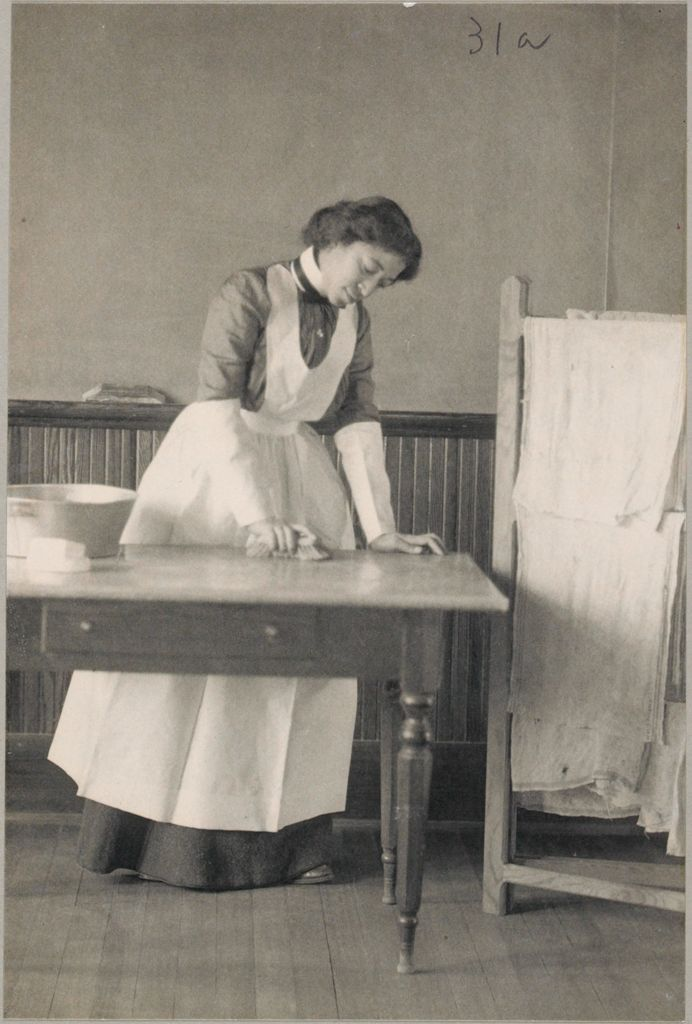 Races, Negroes: United States. Virginia. Hampton. Hampton Normal And Industrial School: Agencies Promoting Assimilation Of The Negro. Training Negro Girls In Domestic Science. Hampton Normal And Agricultural Institute, Hampton, Va.: Scrubbing The Table.