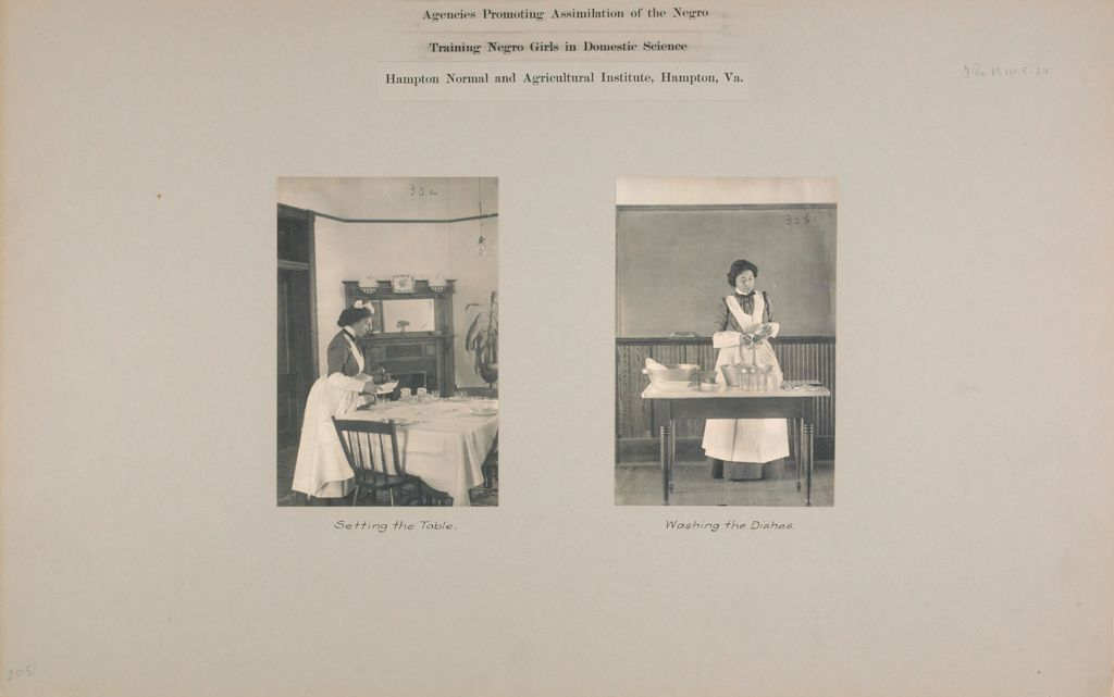 Races, Negroes: United States. Virginia. Hampton. Hampton Normal And Industrial School: Agencies Promoting Assimilation Of The Negro. Training Negro Girls In Domestic Science. Hampton Normal And Agricultural Institute, Hampton, Va.