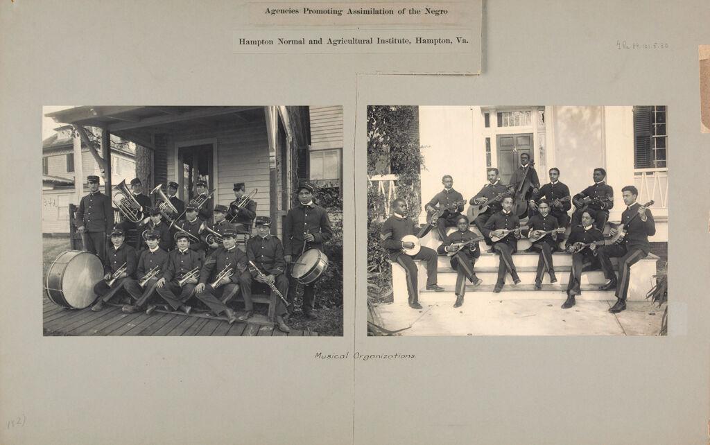 Races, Negroes: United States. Virginia. Hampton. Hampton Normal And Industrial School: Agencies Promoting Assimilation Of The Negro. Hampton Normal And Agricultural Institute, Hampton, Va.: Musical Organizations.
