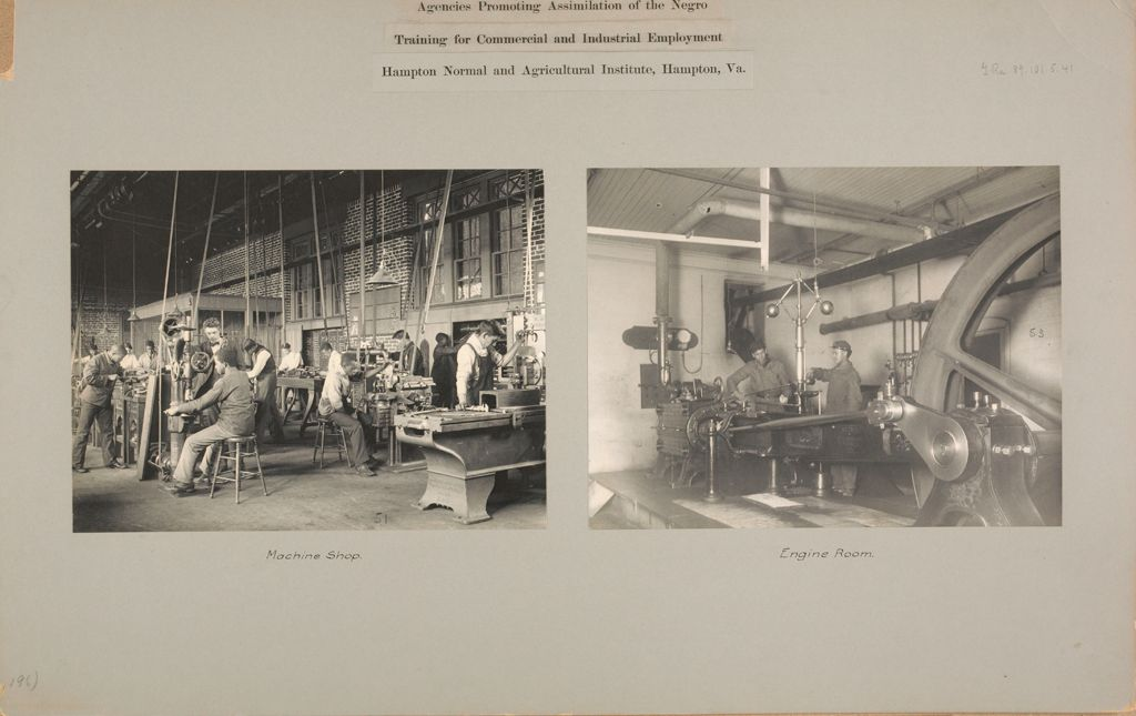 Races, Negroes: United States. Virginia. Hampton. Hampton Normal And Industrial School: Agencies Promoting Assimilation Of The Negro. Training For Commercial And Industrial Employment. Hampton Normal And Agricultural Institute, Hampton, Va.