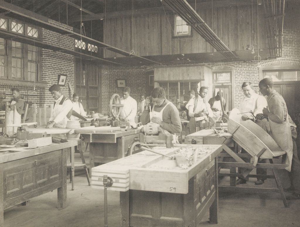 Races, Negroes: United States. Virginia. Hampton. Hampton Normal And Industrial School: Agencies Promoting Assimilation Of The Negro. Training For Commercial And Industrial Employment. Hampton Normal And Agricultural Institute, Hampton, Va.: A Wheelwright Shop.