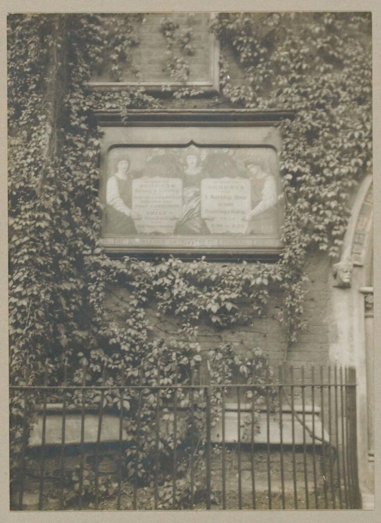 Recreation, Art: Great Britain, England. London. Outdoor Art: Social Conditions In London England, 1903: Tablet - Saint Jude Church.