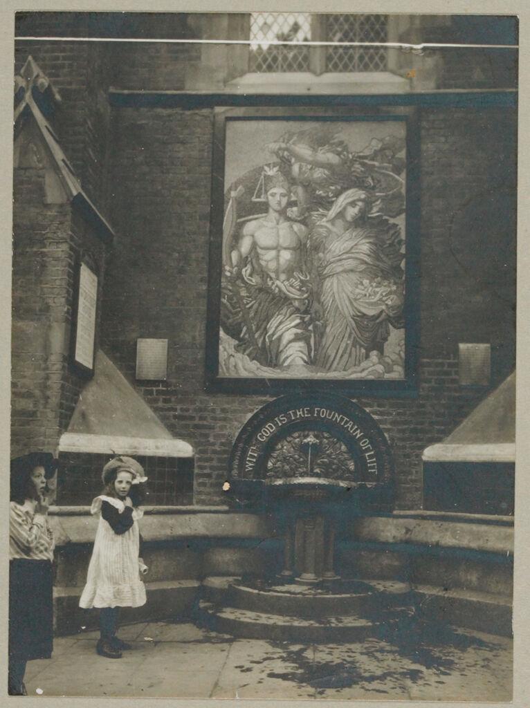Recreation, Art: Great Britain, England. London. Outdoor Art: Social Conditions In London England, 1903: Saint Jude Church - Mosaic And Fountain.