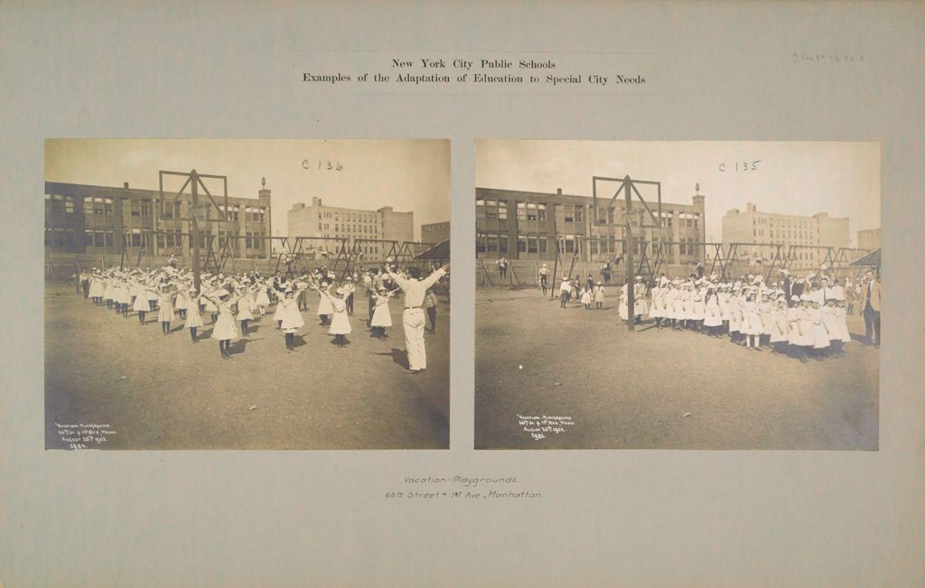 Recreation, Parks And Playgrounds: United States. New York. New York City. Public School No. 159: New York City Public Schools. Examples Of The Adaptation Of Education To Special City Needs: Vacation Playground - Basketball Game. Public School No. 159 Manhattan.