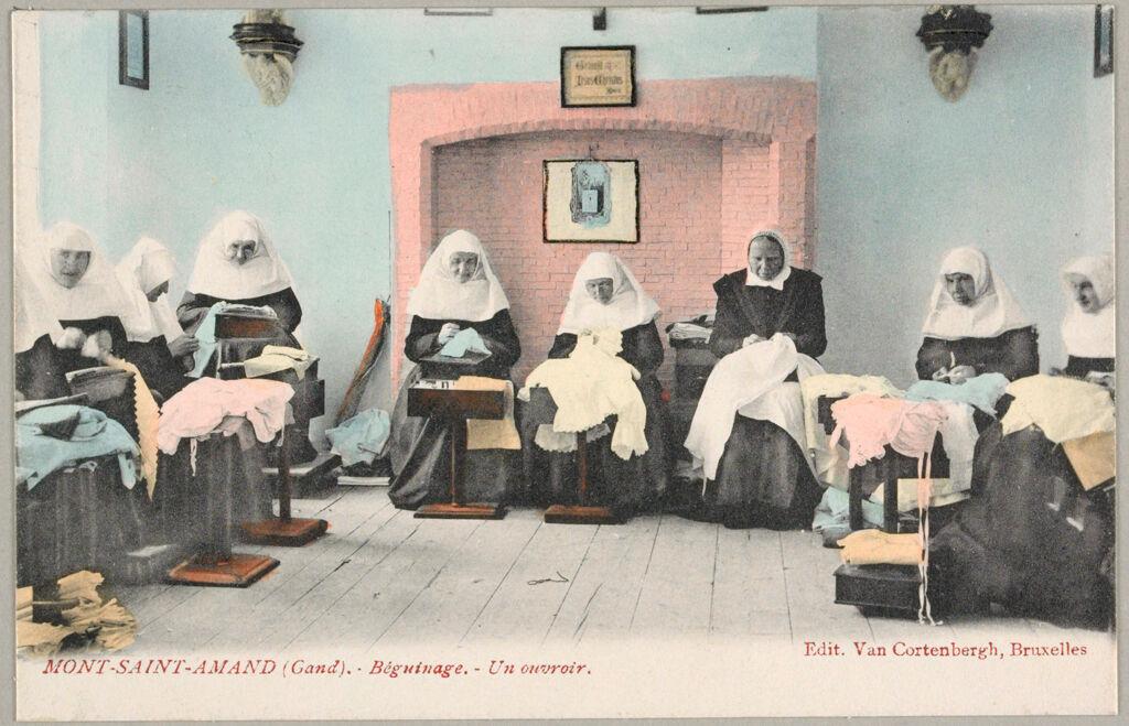 Religious Agencies: Belgium. Ghent. Mont-Saint-Amand Béguinage: Environment Before Immigration. Standards Of Living In European Cities. Social Conditions In Belgium: 1905: Mont-Saint-Amand (Gand). - Béguinage. - Un Ouvroir.