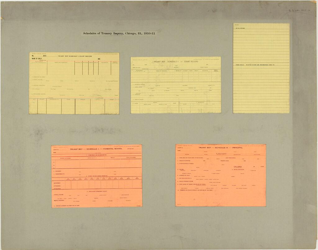 Crime, Childrens Courts: United States. Illinois. Chicago. Juvenile Court: Schedules Of Truancy Inquiry, Chicago, Ill., 1910-11