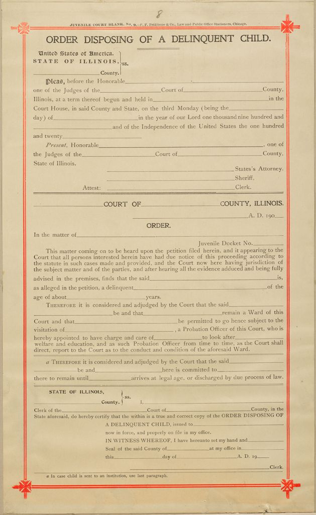 Crime, Childrens Courts: United States. Illinois. Chicago. Juvenile Court: Order Disposing Of A Delinquent Child.