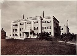 Defectives, Insane: United States. Massachusetts. Waverly. McLean Hospital: McLean Hospital. Pierce Building (Administration): Front view.   Social Museum Collection