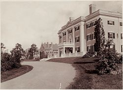 Defectives, Insane: United States. Massachusetts. Waverly. McLean Hospital: McLean Hospital. Pierce Building (Administration): Looking west.   Social Museum Collection