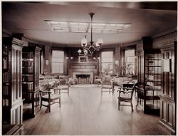 Defectives, Insane: United States. Massachusetts. Waverly. McLean Hospital: McLean Hospital. Pierce Building (Administration): Library.   Social Museum Collection