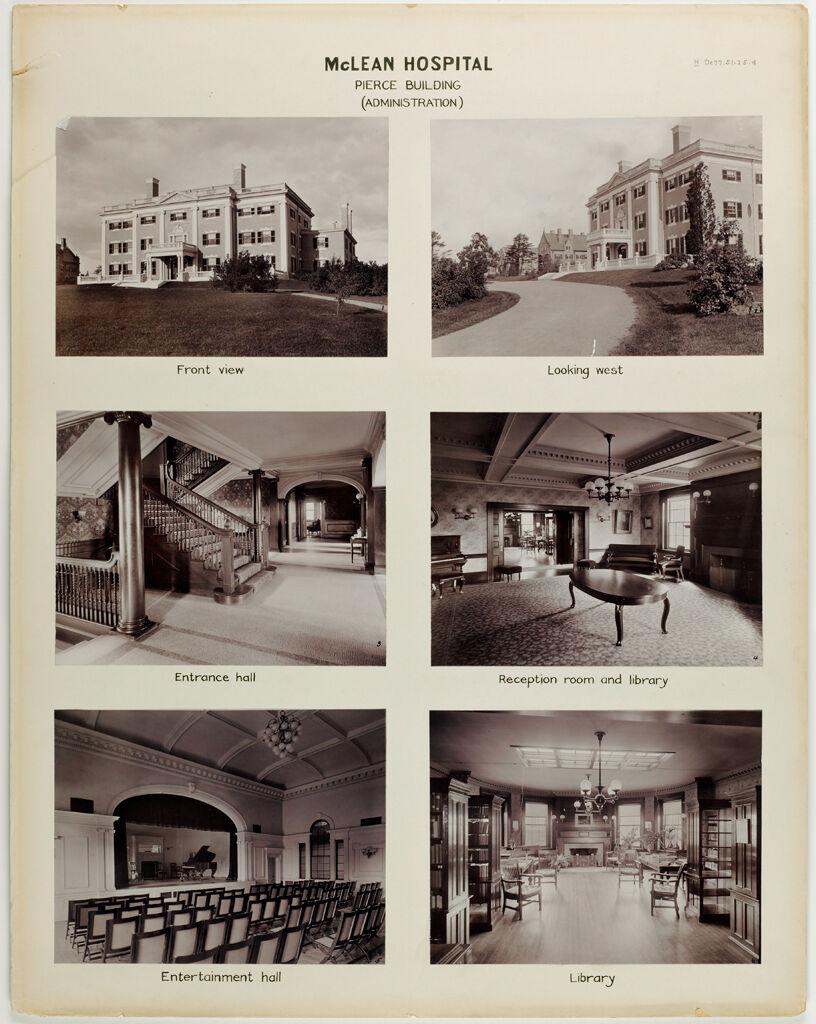 Defectives, Insane: United States. Massachusetts. Waverly. Mclean Hospital: Mclean Hospital. Pierce Building (Administration)