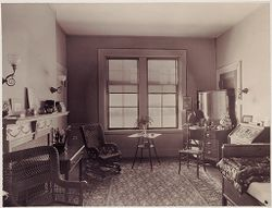 Defectives, Insane: United States. Massachusetts. Waverly. McLean Hospital: McLean Hospital. Womens Belknap: Patient's bedroom.   Social Museum Collection