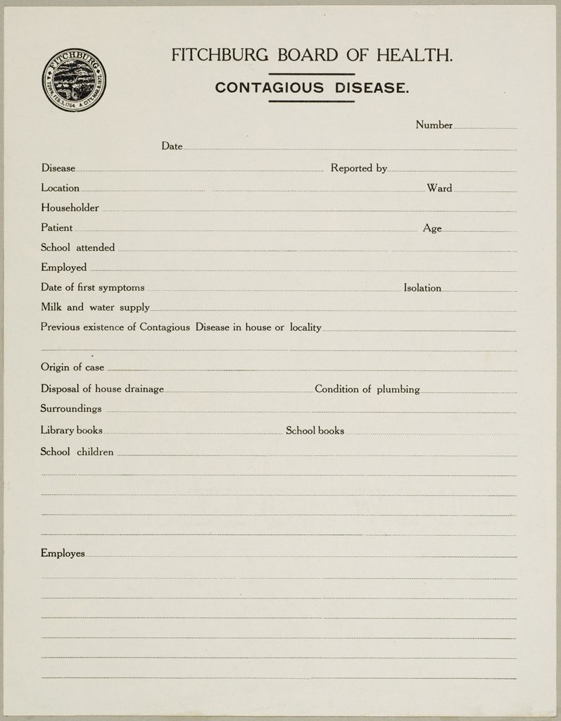 Health, General: United States. Massachusetts. Fitchburg. Health Forms: Fitchburg Board Of Health. Contagious Disease.