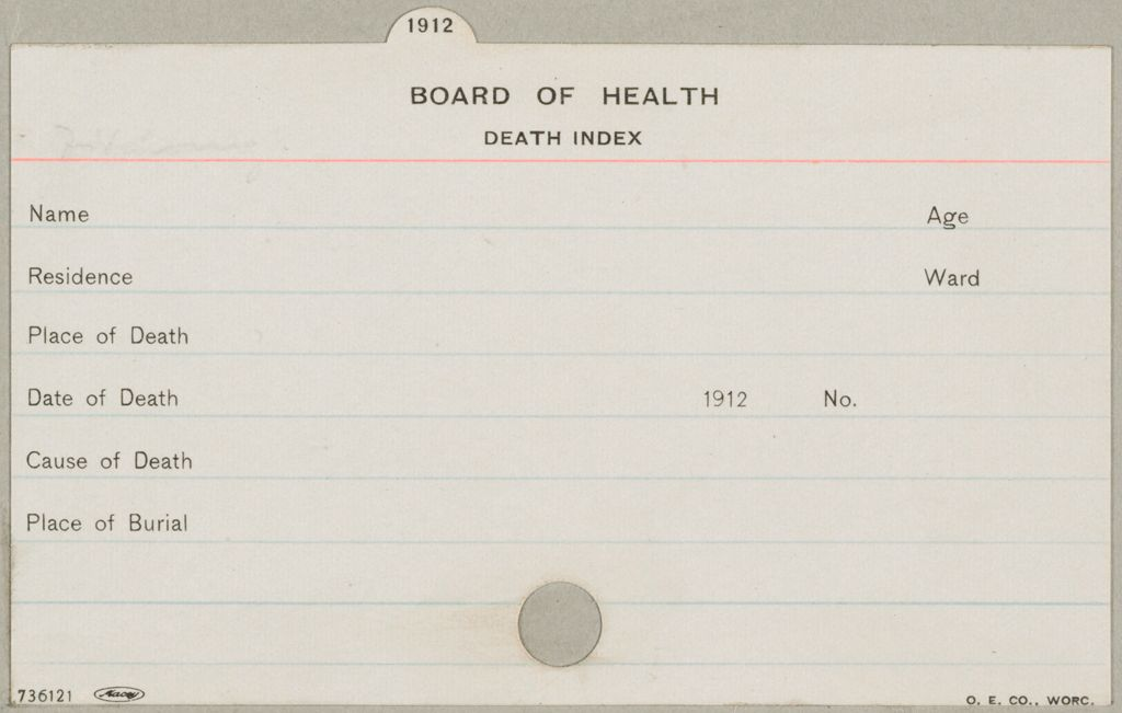 Health, General: United States. Massachusetts. Fitchburg. Health Forms: Board Of Health. Death Index