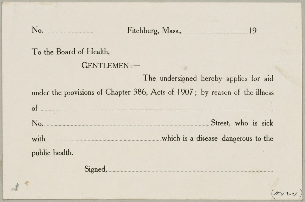 Health, General: United States. Massachusetts. Fitchburg. Health Forms