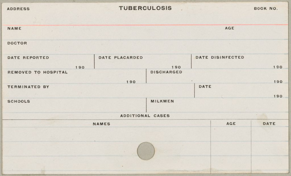 Health, General: United States. Massachusetts. Fitchburg. Health Forms: Tuberculosis
