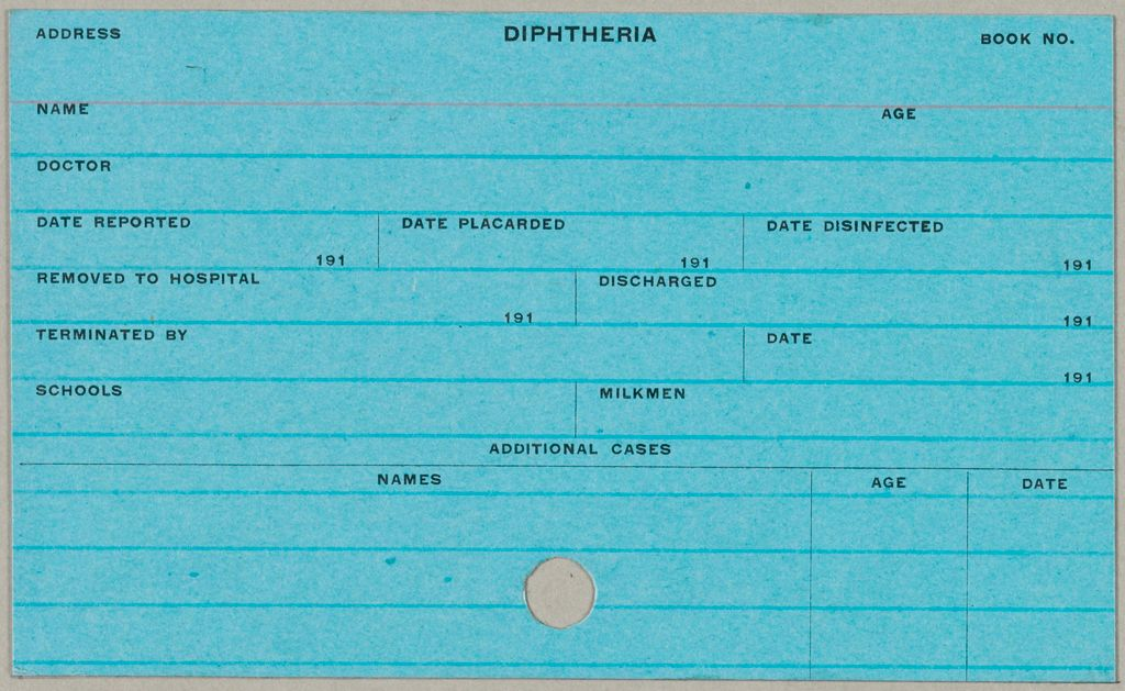 Health, General: United States. Massachusetts. Fitchburg. Health Forms: Diphtheria