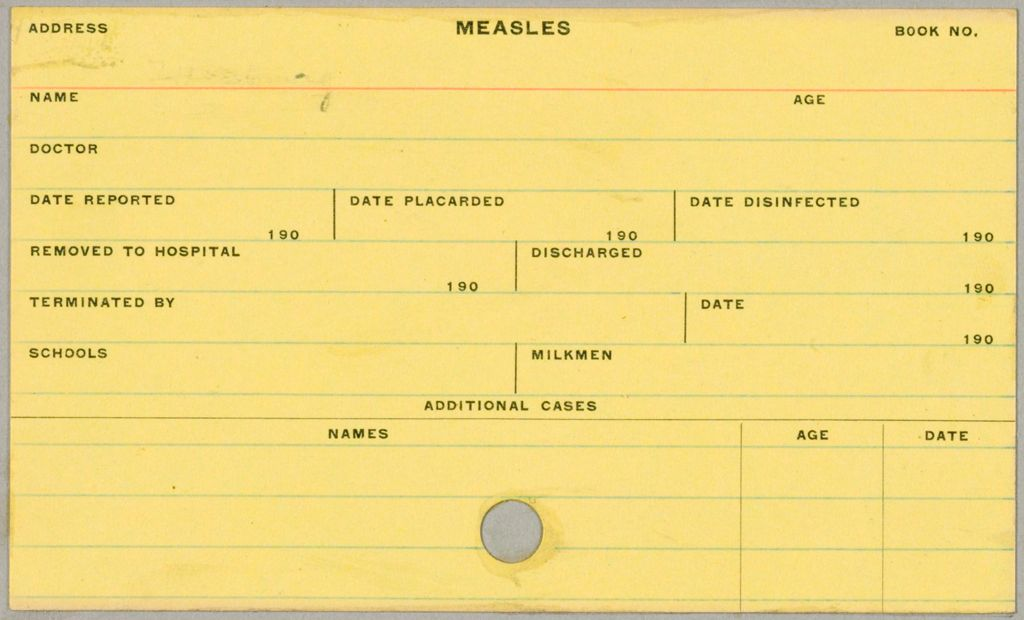 Health, General: United States. Massachusetts. Fitchburg. Health Forms: Measles