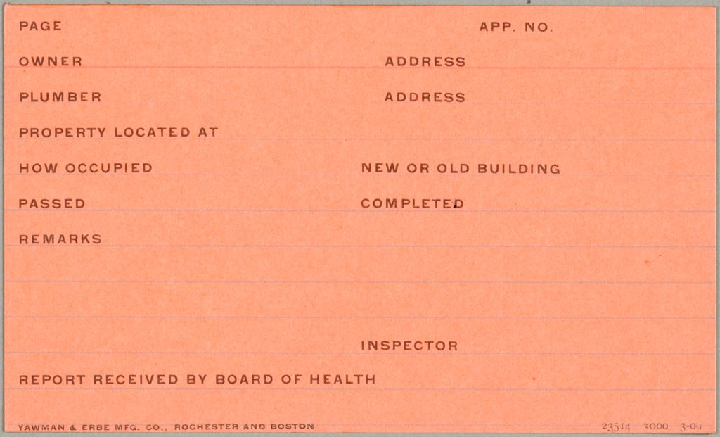 Health, General: United States. Massachusetts. Revere. Board Of Health Forms