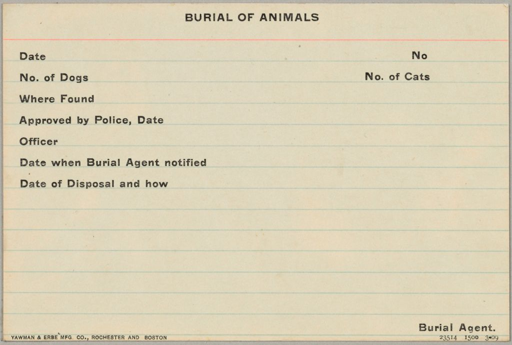 Health, General: United States. Massachusetts. Revere. Board Of Health Forms: Burial Of Animals