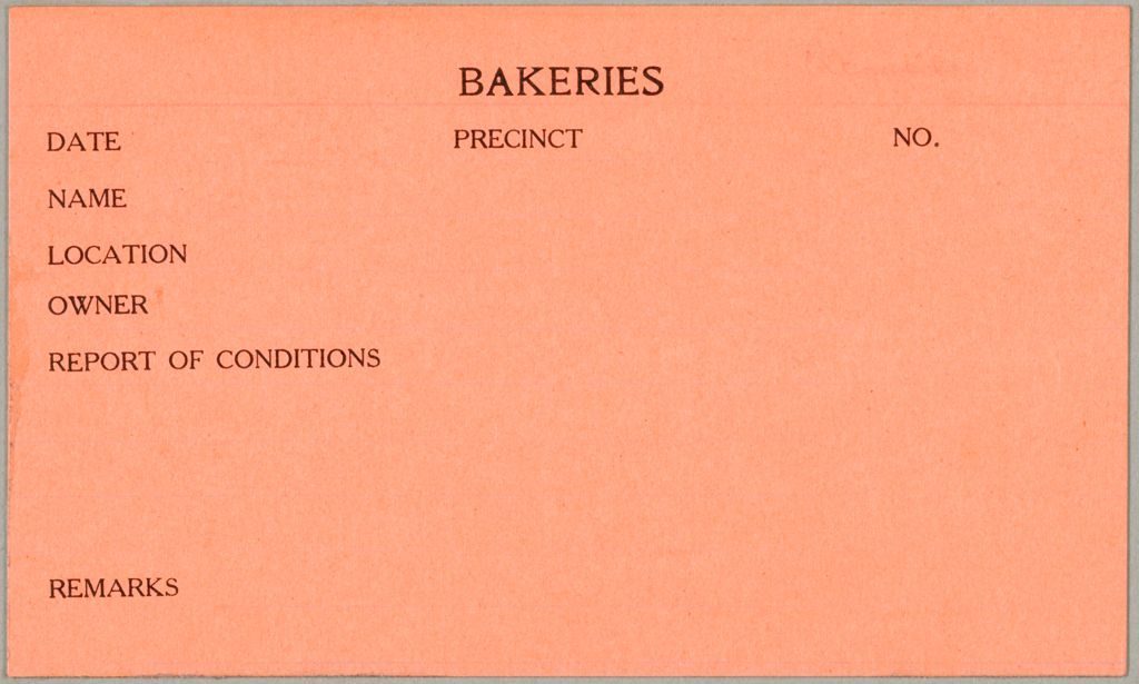 Health, General: United States. Massachusetts. Revere. Board Of Health Forms: Bakeries