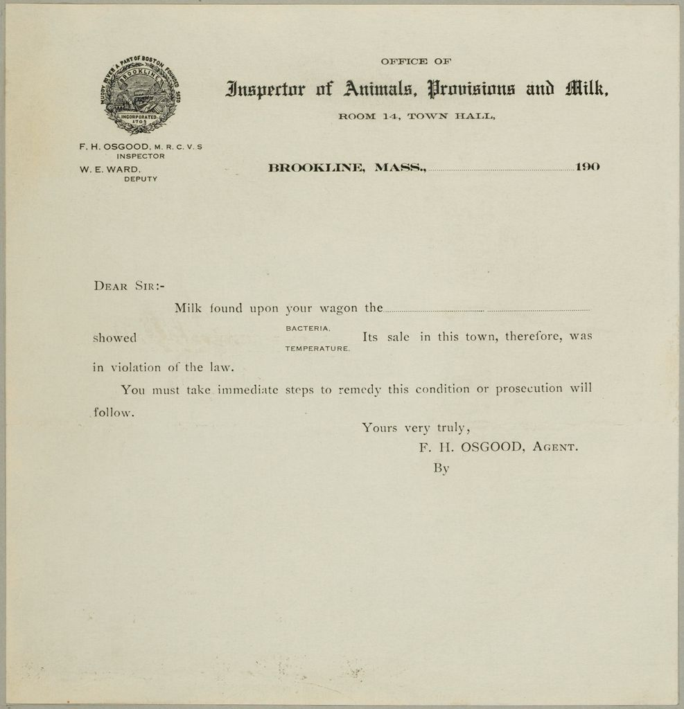 Health, General: United States. Massachusetts. Brookline. Board Of Health: Office Of Inspector Of Animals, Provisions And Milk.
