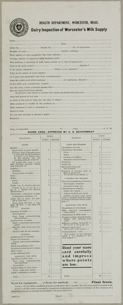 Health, General: United States. Massachusetts. Worcester. Health Department: Health Department, Worcester, Mass.: Dairy Inspection Of Worcesters Milk Supply