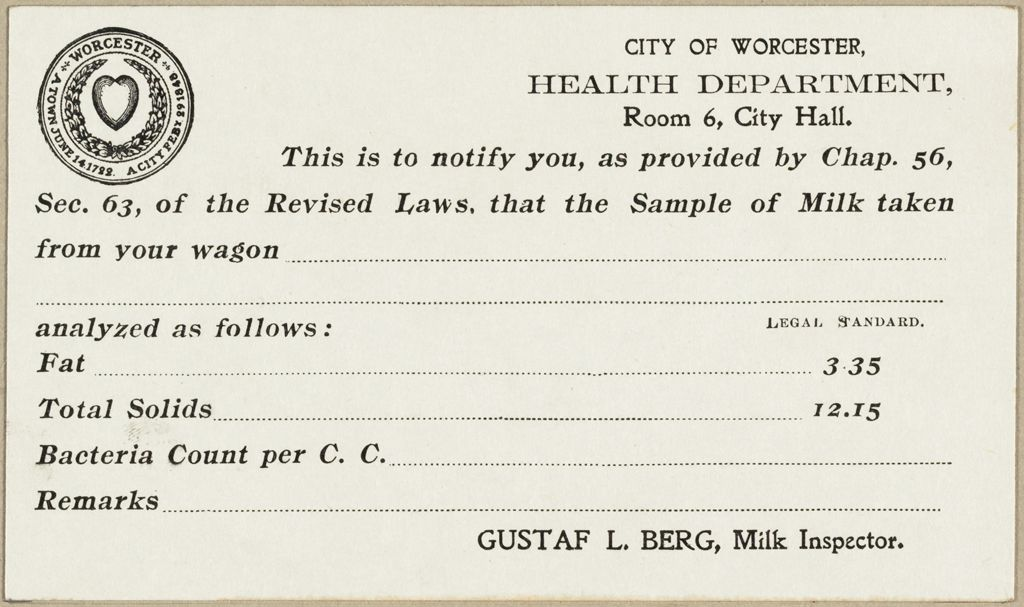 Health, General: United States. Massachusetts. Worcester. Health Department: City Of Worcester, Health Department
