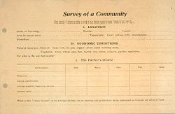 Miscellaneous: United States. Social Surveys: Schedules prepared for Use in Rural Social Surveys: Survey of a Community: Location. Economic Conditions. The Farmers Income.   Social Museum Collection