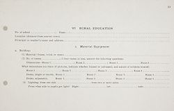 Miscellaneous: United States. Social Surveys: Schedules prepared for Use in Rural Social Surveys: Rural Education. Material Equipment.   Social Museum Collection