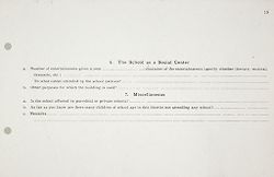 Miscellaneous: United States. Social Surveys: Schedules prepared for Use in Rural Social Surveys: The School as a Social Center. Miscellaneous.   Social Museum Collection