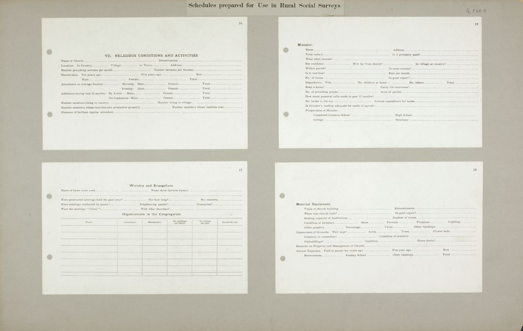 Miscellaneous: United States. Social Surveys: Schedules Prepared For Use In Rural Social Surveys