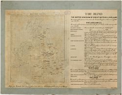 Defectives, Blind: Great Britain. The Blind: Census of 1901: The Blind. The United Kingdom of Great Britain & Ireland: Map of the British Isles showing places where there are Institutions & Societies for the Blind..   Social Museum Collection