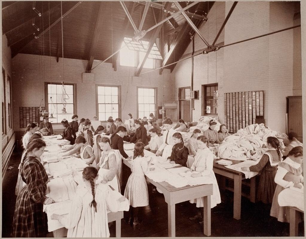 Defectives, Feeble-Minded: United States. Massachusetts. Waverly. School For Feeble-Minded: Massachusetts School For The Feeble-Minded.: Clothes Folding - Laundry Class.