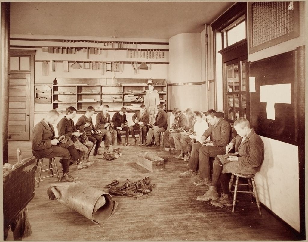 Defectives, Feeble-Minded: United States. Massachusetts. Waverly. School For Feeble-Minded: Massachusetts School For The Feeble-Minded.: Shoe Repairing.